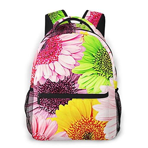 Zaini Casual per Ragazzi Ragazze Donna Uomo, Gerbera Flower Blossom Zaino Scuola per Computer Portatile College Borsa Zaino Bambini Daypack