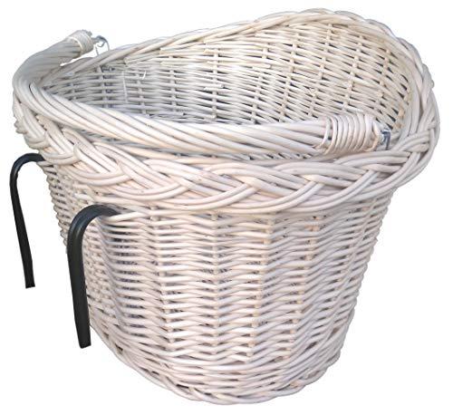 IWARPOL Kosz NA rowery, wiklinowy kosz NA rowery, z garbem, 40 cm, kosz bagażowy, kosz NA zakupy, Fahrradkorb, Weidenfahrradkorb mit einem Buckel, 40 cm, Gepäckkorb, Einkaufskorb (Ecru)