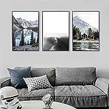 Carteles e impresiones Paisaje de viaje nórdico Pintura en lienzo Nieve Montaña Lago Naturaleza Paisaje Arte de la pared Imagen Decoración moderna para -60x90cm / 23.6 'x35.4' X3 Sin marco