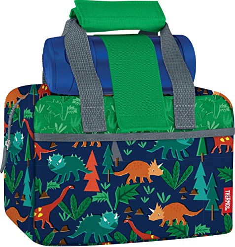 Thermos Funtainer Set, Woodland Dino Bottle & Lunch Duffle Combo, 9.25 x 5 x 6.2