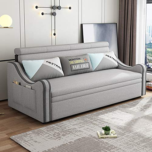 SND-A Pull Out Sleeper Couch -Storage Sofa Convertible Bed - Folding Sofa Bed,Multifunctional Fabric Loveseat Comfortable Cushion for Living Room Apartment,Strong Bearing Capacity,light gray,2.0M
