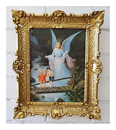 Lnxp Cuadro de ángel de la guarda en el puente con niños, iconos, imagen sagrada, con marco, 56 x 46 cm, imágenes religiosas, María Jesús, color dorado
