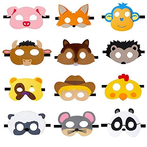 JAHEMU Mascarilla Animales Máscaras de Fieltro Animal Mask Máscaras de Cosplay Dumpleaños Navidad Halloween Fiesta Máscaras para Niños 12 Piezas