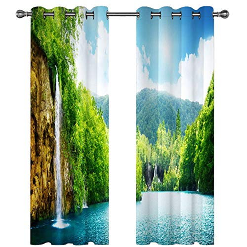 SSHHJ 3D Effect Blackout Curtains Suitable For Bedroom, Balcony, Kitchen Curtain Effective Privacy Protection 2-Pack