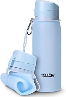 Swethaw Collapsible Water Bottle,  25 oz. Silicone Portable Bottles Foldable Lightweight Leak Proof Outdoor Water Bottles BPA Free for Travel,  Sports,  Hiking,  Camping