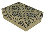 N'icePackaging - 100 Qty Kraft Damask Imported Cotton Filled Pendant Jewelry Boxes - for Pendants/Earrings/Zippos/Collectables & Homemade Crafts - 3 1/4' x 2 1/4' x 1'