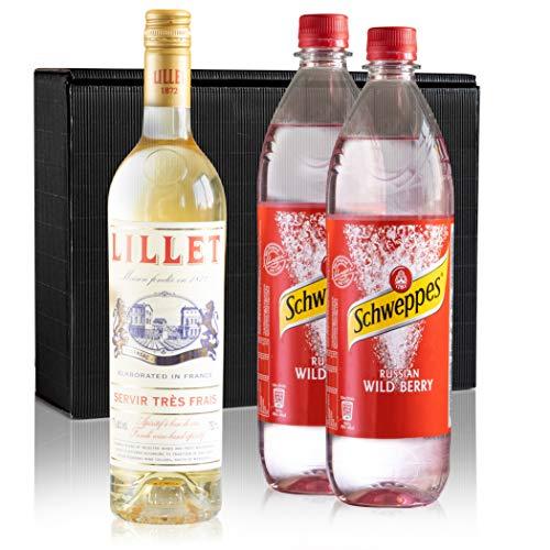 1 Flasche Lillet Blanc 17% Vol. 0,75l + Schweppes Russian Wild Berry 2x 1L im Geschenk Karton