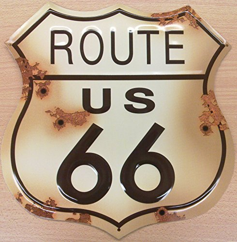 Collectible Badges Route 66 Distressed Look Tin Sign