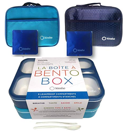 Bento Boxes with Bag and Ice Packs Set | Lunch-Box or Snack Containers for Kids Boys Girls | 6 Leakproof Compartments, Insulated Bags for School Daycare Lunches | Blue, Navy Blue Large 2 Pack