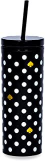 Kate Spade New York Insulated Tumbler with Reusable Straw, Black 20 Ounce Acrylic Travel Cup with Lid, Polka Dots