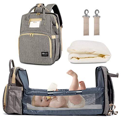 Mochila para Pañales Plegable Mochila de Pañales y Biberones Bolsa de Pañales Cuna de Bebé con Cambiador Bolso Maternal Multifunción Gran Capacidad Viaje Organizador Carrito Cochecito Mochila mami