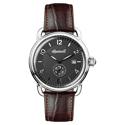 Ingersoll Men's The New England Quartz Watch with Black Dial and Brown Leather Strap I00801