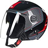 ZHXH Casco jet per moto, punto omologato/open Collision Chopper Cruiser Casco semi-moto con doppia visiera Occhiali protettivi adatto per giovani adulti e donne