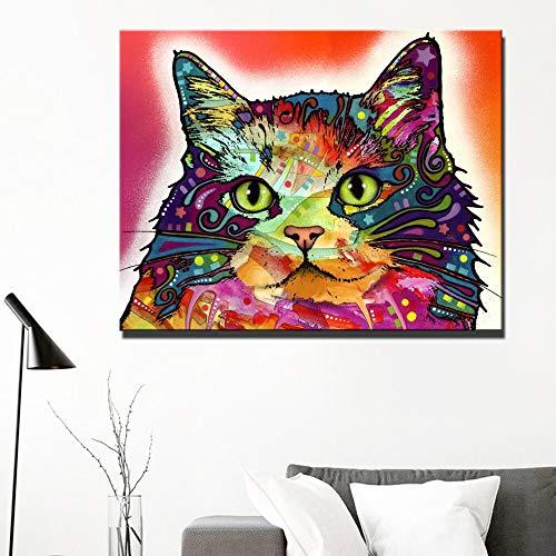 wZUN Impresiones de Animales Abstractos Arte de la Pared Pintura de la Lona Carteles e Impresiones de Gatos de Color Cuadros murales para la habitación de los niños decoración del hogar 50x70cm