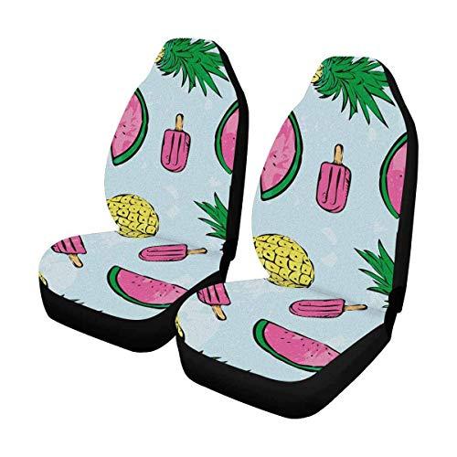 Tropical Summer Ananas und EIS am Stiel Vordersitzbezüge 2-TLG, Fahrzeugsitzschutz Auto-Mattenbezüge, passend für die meisten Fahrzeuge