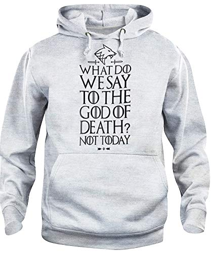 Felpa Cappuccio Unisex What We Say To Death: Not Today Arya Stark Quote Game of Thrones-Serie TV L Grigio