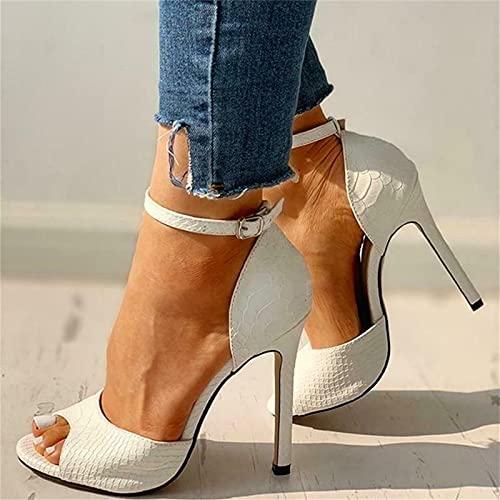 Sandalias de tacón de aguja con punta abierta para mujer, zapatos de vestir, tacones altos para mujer, punta abierta sexy, tacones con correa de tobillo de piel (blanco, 37)
