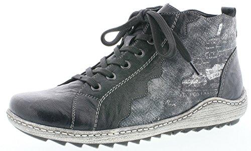 Remonte Damenschuhe R1474 Damen Stiefeletten, Stiefel, Boots schwarz Kombi (schwarz/schwarz-Silber/schwarz/Silber/schwarz / 02), EU 40
