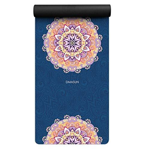 XINGDONG Esterilla de yoga gruesa ancha y larga impresa, para hombres y mujeres, antideslizante, cojín de franela, fácil de almacenar (color: C)