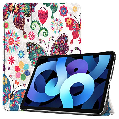 LMFULM Case for Apple iPad Air 2020 (4th Gen) (10.9 Inch) PU Leather Case Tri-Fold Slim Lightweight Smart Protective Shell With Auto Sleep/Wake Stand Flip Cover Holster Colorful Butterfly Pattern