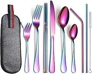 Cuisine Ustensile Set, Silverware Set Cutlery Couteau Couteau Set Arc-en-ciel gris foncé 36 pièce, dînet de vaisselle Couv...