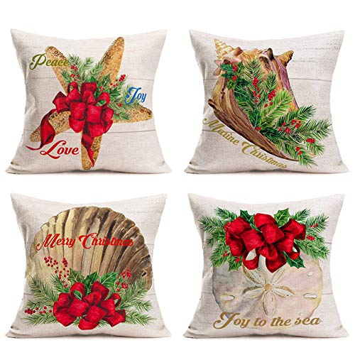Hopyeer Ocean Park Merry Christmas Home Sofa Decoration Pillow Covers Decor Vintage Wood Coastal Starfish Beach Scallop Coral Red Xmas Mistletoe Cushion Cover 18'X18' Nautical Pillowcase (OP-Nautical)