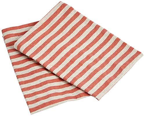 AmazonBasics - Kissenbezüge, Jersey, 2er-Pack, gestreift, 40 x 80 cm, Hellrot