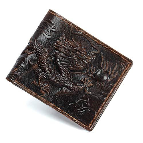 Rcnryretro - Brieftasche, Leder, männliche und weibliche prägung Drachen Muster 80 Prozent vom Geldbeutel, einfache Kopf öl wachs Haut, offene und senkrechten grundstück,EIN,querschnitt