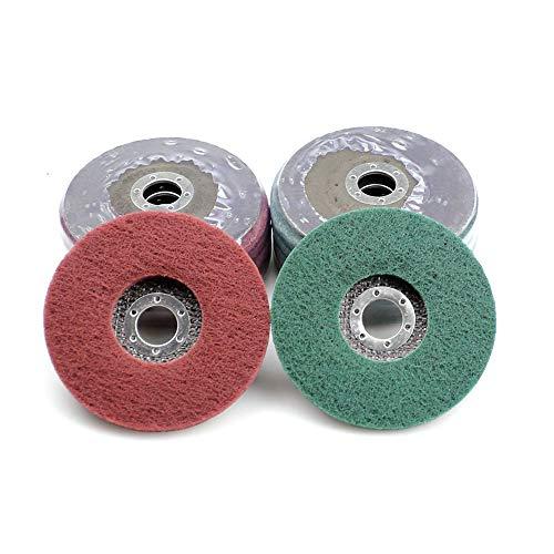 GFHDGTH 10 stuks 125 * 8 * 22mm niet-geweven flap slijpschijf, nylon polijstschijf Bulgaarse haakse slijper gereedschap voor metaal Pools, rood en groen