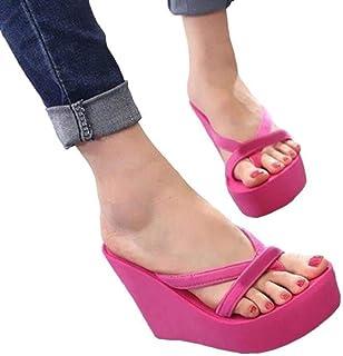 Women Slippers Fashion Summer High Heel Slippers Beach Flip Flops Slipper Wedge Platform Beach Shoes Sandals