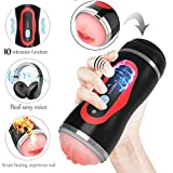 Electric Male Masturbator Cup Vibrating Pocket Pussy Stroker with Voice,Waterproof Rechargeable Heating,Powerful Vibration Masturbation with Realistic Tight Vagina,Oral Sex Toys for Man