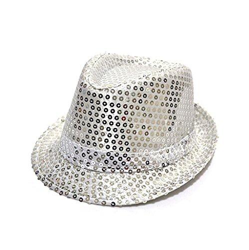 Mmrm Unisexe Enfant Panama Paillette Chapeau Feutre pour Mascarade Noël Partie Bal Costumé (Argent)