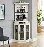 Home Source White Corner Bar Unit with Built-in Wine Rack and Lower Cabinet