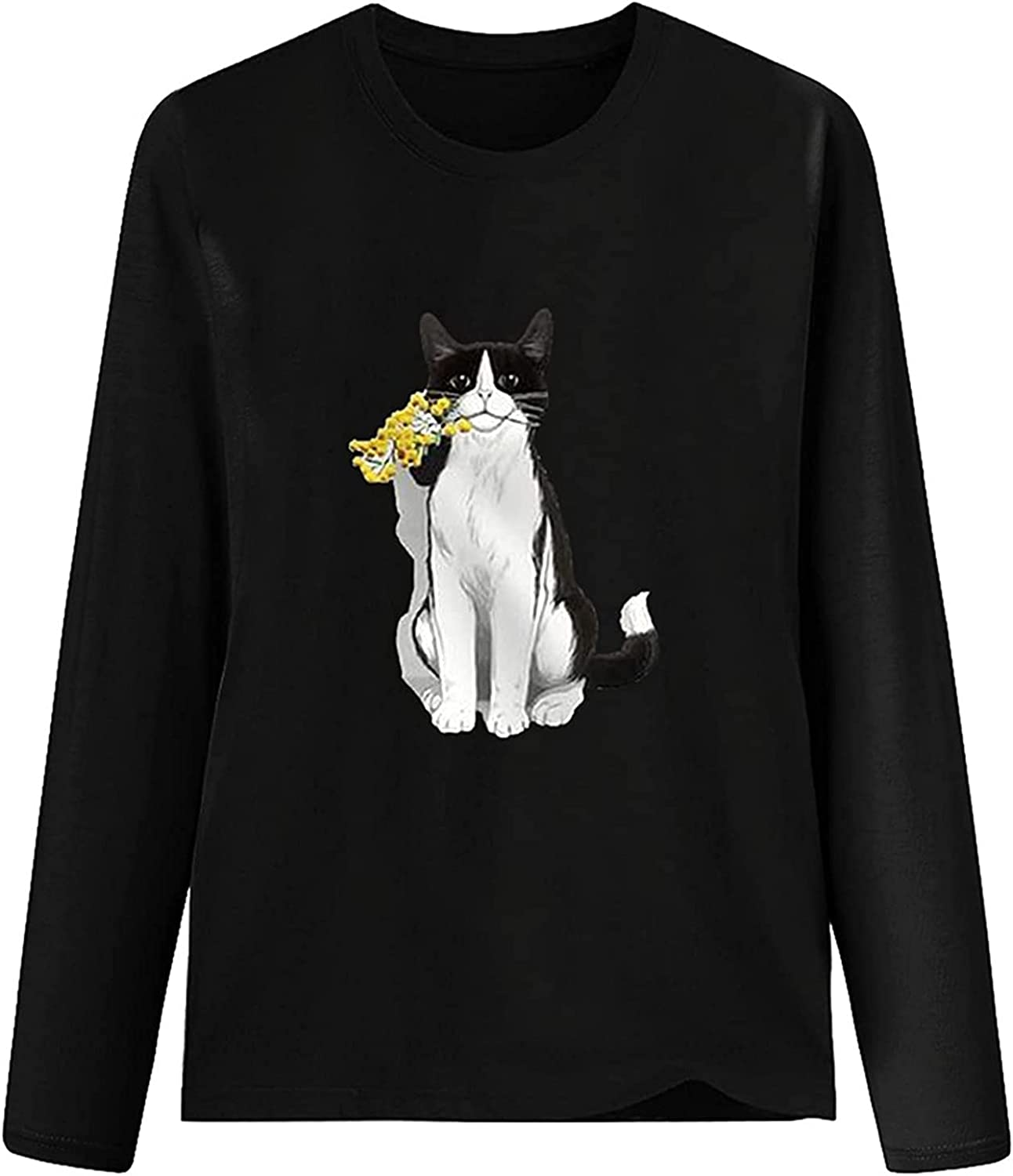 VonVonCo Fashion Pullover Sweaters for Women Fashion Loose Casual Long Sleeve Round Neck Pure Colors Prints T-Shirt