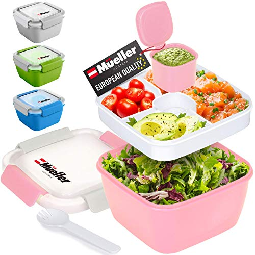 Mueller Salad Lunch Container To Go, Large 51-oz Salad Bowl, 3 Part Divided Tray, with Dressing Container and Reusable Spork Smart Locking Leakproof Salad Holder, (Pink)
