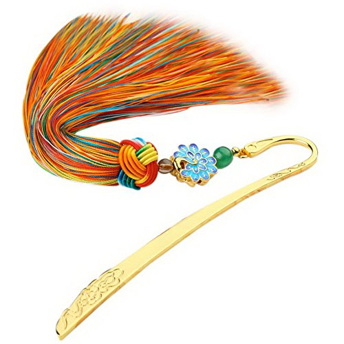 Chinese Style Retro Metal Bookmarks with Silky Tassels Creative Gifts Multicolor