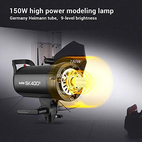 Godox SK400II Studio Strobe 400Ws GN65 5600K Bowens Mount Monolight, Built-in Godox 2.4G Wireless System, 150W Modeling Lamp, Outstanding Output Stability, Anti-Preflash, 1/16-1/1 40 Steps Output