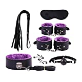 Zeezm Couple Set 7-teiliges Plüsch Leder Spaß Klage gebündelt Bindung New Yoga Plüsch Leder Set Yoga Set SM-Kit for Paare (Color : Purple)