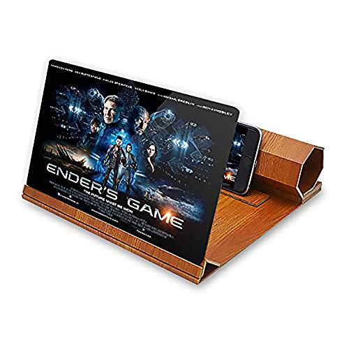 YQG 12 'Lupa de Pantalla HD Pantalla de Teléfono Móvil Plegable de Grano de Madera Sólida Adecuada para Ver Videos de Películas en Todos los Teléfonos Inteligentes