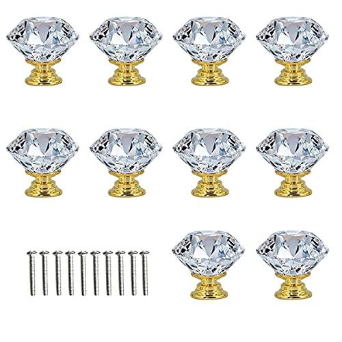 Tiradores de Cajón Transparentes en Diamante,10 Pcs Tirador de Puerta de Cristal Transparente Perillas del gabinete para Alacena,Baño,Cocina, Gabinetes,Tiradores de Cajones con Tornillo (Dorado)