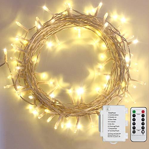 Starker 100er LED Outdoor Lichterkette Batterienbetrieben mit Timer Warmweiß deal für CHRISTMAS, Festlich, Hochzeiten, Geburtstag, PARTY, NEW YEAR Dekoration, HÄUSER ETC (8 Modi, Außenbeleuchtung)