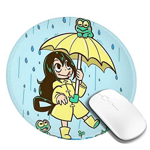 7.9x7.9in Kikker Meisje In Regenjas En Regenlaarzen Houd Een Paraplu Ronde Muis Pad Bureau Toetsenbord Mat Grote Muis Pad Voor Computer Desktop Laptop