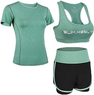 Fliegend Femme Ensemble de Sport Surv/êtement Ete Crop Top Manches Courtes Sport Short 2 Pi/èce Combinaison de Jogging Course Workout S-2XL