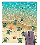 Knseva Sea Turtles on The Beach Mouse Pad, Starfish Shell Blue Ocean Painting Art Mouse Pads