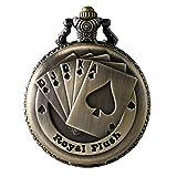 Jewelrywe Orologio da Tasca a Quarzo Poker Quadrante Numero con Collana in Lega Bronzo Vintage