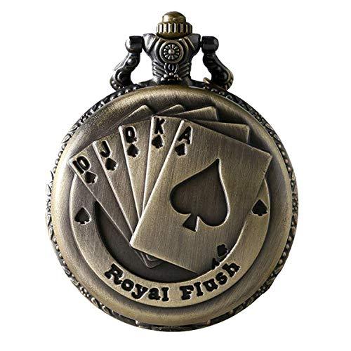JewelryWe Reloj de Bolsillo Bronce Poker Royal Flush, Reloj de Bolsill