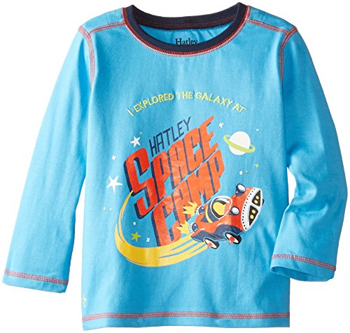 Hatley Boys L/S Graphic Tee-Space Cars T-Shirt Bambini e Ragazzi