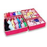SITAKE 4 Set Foldable Closet Underwear Organizer, Storage Boxes Under Bed Organizer for Underware,Bra,Ties,Belts,Socks,Tank Tops - Drawer Divider - Closet Organizers (Pink)