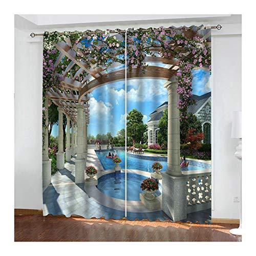 Aeici Vorhänge mit Muster Schlafzimmer Bögen Und Schwimmbad Schlafzimmer Vorhänge Modern Blau Vorhänge 274X214Cm Verdunklungs Vorhang für Schiene