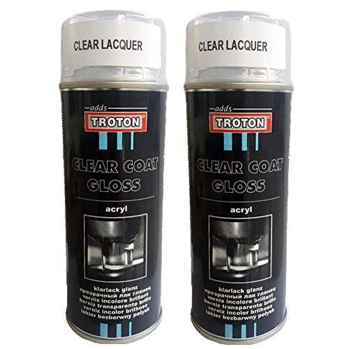 Troton SPRÜHLACK Spray 2 x 400ml KLARLACK Glanz LACKSPRAY Clear Coat AUTOLACK 1K GLÄNZEND SPRAYDOSE Gloss